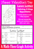 Valentine's Day - Love Letter - Solving 2-Step Equations - Math-Then-Graph