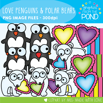 Valentine's Day Love Penguins and Polar Bears