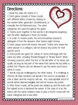 Valentine's Day: Lovee Dovee Scattergories-Type Word Game