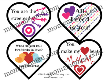 Valentine's Day Lunch Box Notes, printable heartshaped set of 16 love notes