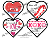 Valentine's Day Lunch Box Notes, printable heartshaped set