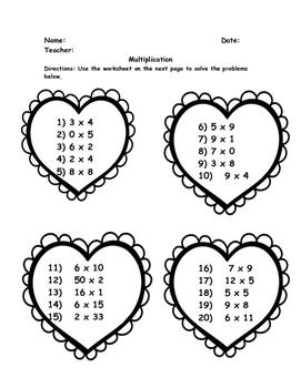 Valentine's Day MATH: Add, Subtr., Multiply, Divide, Place Value, Estimate GR. 3