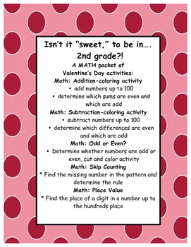 Valentine's Day MATH: Add, Subtract, Even/Odd, Place Value, Skip Counting GR. 2