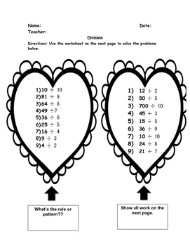 Valentine's Day MATH: Multiplication, Division, Place Value, Estimating GRADE 4
