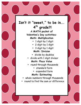 Valentine's Day MATH: Multiplication, Division, Place Valu