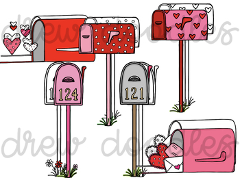 Valentine's Day Mail- Color and Black Line COMBO