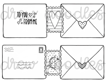 Valentine's Day Mail Digital Clip Art Set- Black Line Version