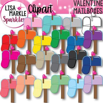 Valentine's Day Mailbox Rainbow Clipart