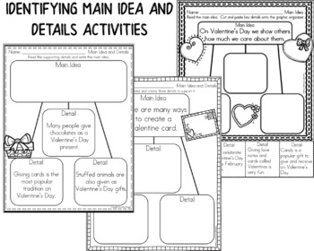 Valentine's Day - Main Idea and Details Activities