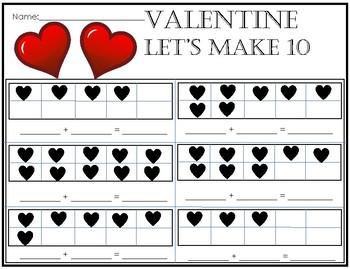Valentine's Day Make 10 Ten Frames