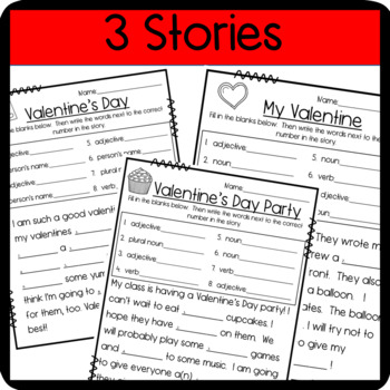 Valentine's Day Make a Silly Story: Nouns, Verbs, and Adjectives