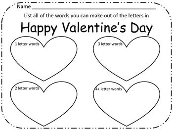 Valentine's Day Making Words