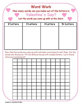 Valentine's Day: Making Words and Word Search Extension Activity