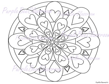 Valentine's Day Mandala Coloring Page