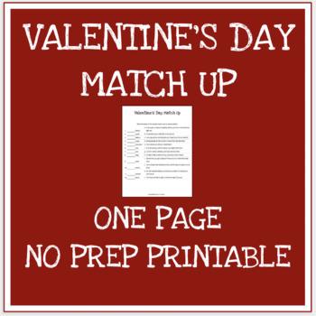 Valentine's Day Match Up Activity