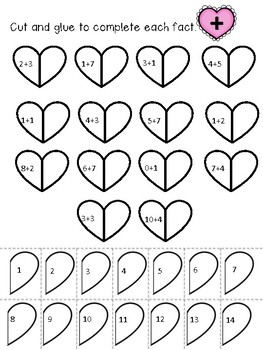 Valentine's Day - Matching Math Facts Worksheets + - x ÷