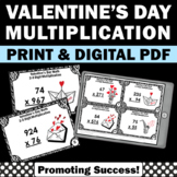 Valentine's Day Math Activities 2-3 Digit Multiplication Task Cards 5th Grade