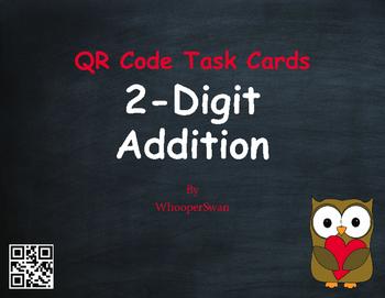 Valentine's Day Math: 2-Digit Addition QR Code Task Cards