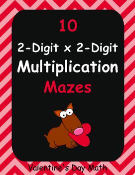 Valentine's Day Math: 2-Digit By 2-Digit Multiplication Maze