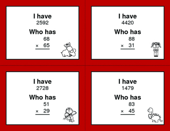 Valentine's Day Math: 2-Digit Multiplication - I Have, Who Has