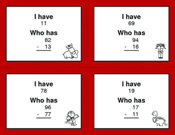 Valentine's Day Math: 2-Digit Subtraction - I Have, Who Has