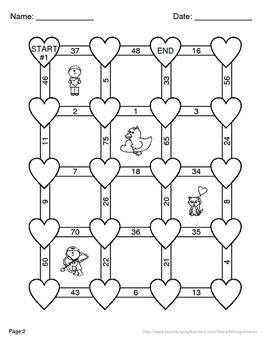 Valentine's Day Math: 2-Digit Subtraction Maze