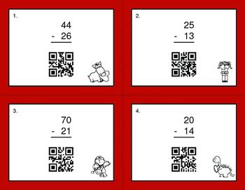 Valentine's Day Math: 2-Digit Subtraction QR Code Task Cards