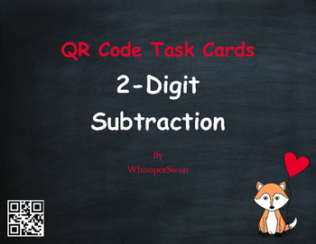 Valentine's Day Math: 2-Digit Subtraction QR Code Task Cards