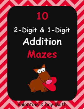 Valentine's Day Math: 2-Digit and 1-Digit Addition Maze