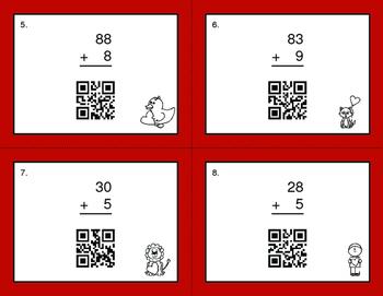 Valentine's Day Math: 2-Digit and 1-Digit Addition QR Code Task Cards