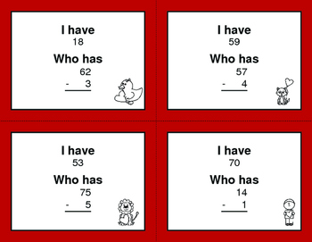 Valentine's Day Math: 2-Digit and 1-Digit Subtraction - I Have, Who Has