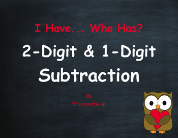 Valentine's Day Math: 2-Digit and 1-Digit Subtraction - I