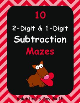 Valentine's Day Math: 2-Digit and 1-Digit Subtraction Maze