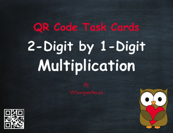 Valentine's Day Math: 2-Digit by 1-Digit Multiplication QR Code Task Cards