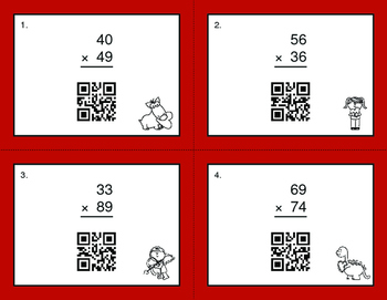 Valentine's Day Math: 2-Digit by 2-Digit Multiplication QR Code Task Cards