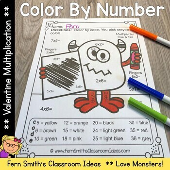 Color By Number St Valentine's Day Love Monsters Multiplication