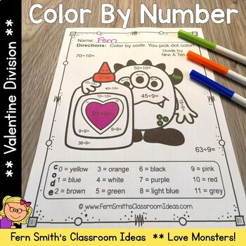 Color By Number St Valentine's Day Love Monsters Division
