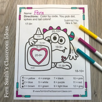 Color By Number St Valentine's Day Love Monsters Addition and Subtraction
