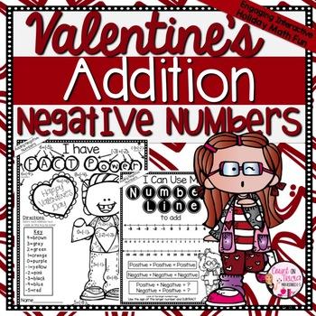 Valentine's Day Math Adding Negative Numbers