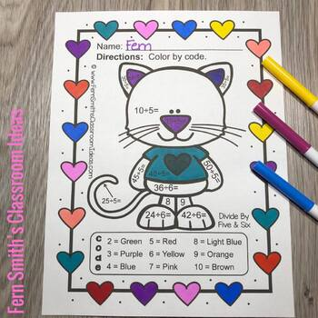Color By Number Funky St Valentine's Day Add Subtract Multiply Divide Bundle