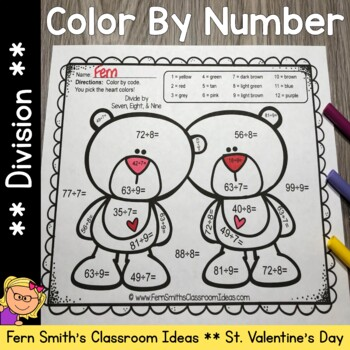 Color By Number St Valentine's Day Division Valentine's Day Cuties