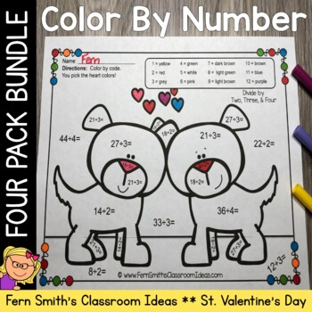 Color By Number St Valentine's Day Add Subtract Multiply Divide Valentine Cuties