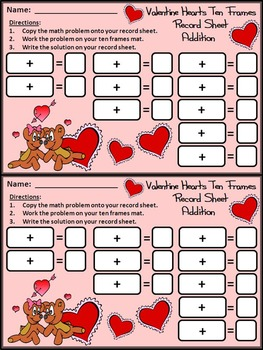 Valentine's Day Activities: Valentine Hearts Valentine's Day Ten Frames