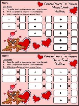 Valentine's Day Activities: Valentine Hearts Ten Frames Bundle - Color&BW