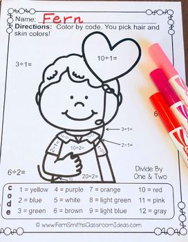 Color By Number St. Valentine's Day Math Division Bundle