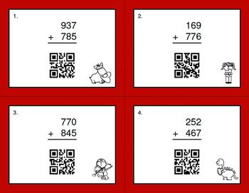 Valentine's Day Math: 3-Digit Addition QR Code Task Cards