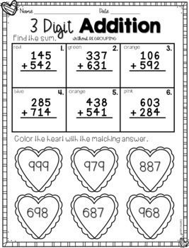 Valentine's Day Math  Addition with and without Regrouping