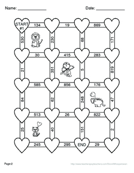 Valentine's Day Math: 3-Digit Subtraction Maze