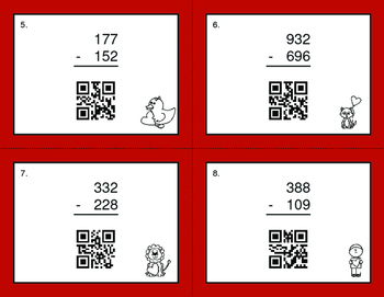 Valentine's Day Math: 3-Digit Subtraction QR Code Task Cards