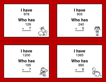 Valentine's Day Math: 3-Digit and 1-Digit Multiplication - I Have, Who Has